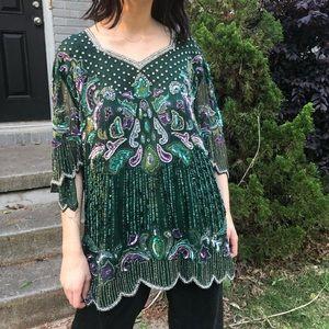 SOLD Vintage emerald silk beaded blouse